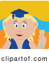 Clip Art of a Happy Blond Caucasian Graduating Girl Holding a Diploma by Dennis Holmes Designs