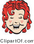 Clip Art of a Happy Curly Red Headed Girl with Freckles, Laughing Retro by Andy Nortnik