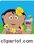 Clip Art of a Happy Hispanic Woman in a Hawaiian Lei, Drinking a Cocktail on Vacation by Dennis Holmes Designs