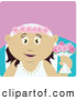 Clip Art of a Happy Mexican Bride Woman Holding Flowers by Dennis Holmes Designs