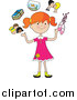 Clip Art of a Happy Red Haired White Girl Juggling Her Friends, School Books, Goldfish, Parents and Ballet Slippers by Maria Bell