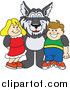 Clip Art of a Husky Dog with Students by Toons4Biz
