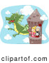 Clip Art of a Knight and Princess in a Tower, Waving to a Dragon by BNP Design Studio