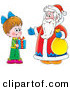 Clip Art of a Little Girl Holding a Gift While Standing with Santa by Alex Bannykh