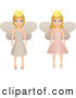 Clip Art of a Pair of Blond Fairy Princesses in Beige and Pink Dresses, Wearing Crowns by Melisende Vector