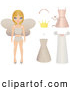 Clip Art of a Pretty Blond Fairy Princess Paper Doll in Her Undergarments, with a Crown, Dresses and Accessories by Melisende Vector