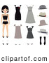 Clip Art of a Pretty Caucasian Girl, a Paper Doll, with Shoes, Hats and Dresses by Melisende Vector