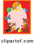 Clip Art of a Red Frame Around a Pink Oval with a Happy Little Girl, Balloon, Butterfly, Bird, Bear, Ball, Cat and Puppy by Alex Bannykh