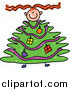 Clip Art of a Red Haired Girl with a Christmas Tree Body by Prawny