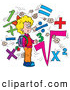 Clip Art of a Smart Smiling School Girl Surrounded by Math Symbols by Alex Bannykh