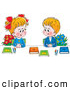Clip Art of a Smiling Boy and Girl in Uniforms, Sitting with Flowers and Books and Smiling at Each Other by Alex Bannykh