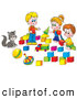 Clip Art of a Smiling Cat Watching Two Boys and a Girl Play with Blocks by Alex Bannykh