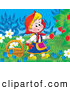 Clip Art of a Smiling Girl, Little Red Riding Hood, Picking Raspberries from the Bush by Alex Bannykh