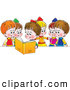 Clip Art of a Smiling Girl Reading a Book out Loud to Her Friends by Alex Bannykh