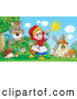 Clip Art of a Smiling Little Red Riding Hood Carrying a Basket and Playing with a Flower near Windmills As a Wolf Watches by Alex Bannykh
