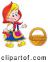Clip Art of a Smiling Little Red Riding Hood Wearing Her Cape, Standing by a Basket by Alex Bannykh
