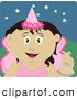 Clip Art of a Smiling Mexican Girl Trick or Treating on Halloween in a Fairy Princess Costume by Dennis Holmes Designs