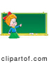Clip Art of a Smiling Smart School Girl Standing in Front of and Pointing to a Blank Chalk Board by Alex Bannykh