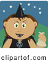 Clip Art of a Spooky Hispanic Girl Trick or Treating on Halloween in a Witch Costume by Dennis Holmes Designs