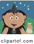 Clip Art of a Spooky Latin American Girl Trick or Treating on Halloween in a Witch Costume by Dennis Holmes Designs