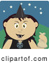 Clip Art of a Spooky Mexican Girl Trick or Treating on Halloween in a Witch Costume by Dennis Holmes Designs