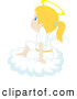 Clip Art of a Thinking Innocent Blond Caucasian Angel Girl Sitting on a Cloud by Rosie Piter
