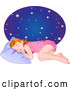 Clip Art of a Tired Little Girl in Her Pajamas, Sleeping at a Starry Night by Pushkin