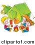 Clip Art of a Trio of Children Eating Around a Campfire Outside Their Green Tent, on a White Background by Alex Bannykh