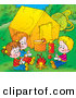 Clip Art of a Trio of Happy Children Warming up by a Campfire near Their Tent by Alex Bannykh