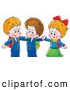Clip Art of a Two Little Smiling Boys and a Girl Hugging by Alex Bannykh