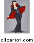 Clip Art of a Vampiress Pinup over Gray by BNP Design Studio
