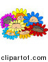 Clip Art of Diverse Children in Flowers by Djart
