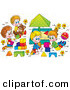 Clip Art of Happy Children Playing with Blocks and Teddy Bears Around a Sand Box, out on a Picnic by Alex Bannykh