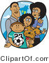 Clip Art of Two Hispanic Parents Standing with Their Son, Daughter and the Family Dog by Andy Nortnik