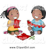 Clip Art of a Black Boy and Girl Cutting Paper Hearts by BNP Design Studio