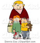 Clip Art of a Blond Woman, a Mom, Standing Behind Her Two Children, a Red Haired Girl in a Green Dress Who Is Carrying Her Doll, and a Boy, Her Son, Who Is Wearing a Yellow Shirt and Carrying His Teddy Bear by Djart