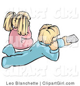 Clip Art of a Boy and Girl in PJS Watching TV by Leo Blanchette