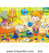 Clip Art of a Brother and Sister Playing with Toys in a Messy House by Alex Bannykh