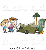 Clip Art of a Cartoon White Kids Setting up a Camping Tent in a Living Room by Toonaday