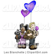 Clip Art of a Caucasian Boy Holding a Lolipop Sucker, Blue Balloon and a Teddy Bear Wile Standing by an African American Girl Holding a Purple Balloon and Teddy Bear by Leo Blanchette