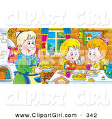 Clip Art of a Cheerful Boy and Girl at a Table, Eating Fresh Food Made by Grandma by Alex Bannykh