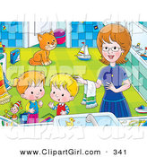 Clip Art of a Cheerful Mom Helping Her Children Get Cleaned up in a Bathroom, a Cat Watching in the Background by Alex Bannykh