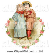 Clip Art of a Cute Vintage Valentine of a Sweet Little Boy and Girl Strolling Arm in Arm, Looking off to the Side, Circled by a Heart of Pink Roses Circa 1886 by OldPixels