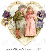 Clip Art of a Cute Vintage Valentine of a Sweet Little Boy Trying to Woo a Little Girl in a Heart of Leaves and Pansy Flowers, Circa 1890 by OldPixels