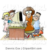 Clip Art of a Female Teacher Sitting at a Computer, Surrounded by School Kids in a Classroom Environment by Djart