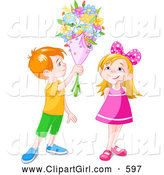 Clip Art of a Grinning Red Haired Boy Holding a Flower Bouquet over a Little Girl by Pushkin