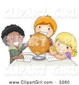 Clip Art of a Group of Happy School Kids Studying a Globe by BNP Design Studio