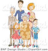 Clip Art of a Happy Extended Family Standing Together by BNP Design Studio