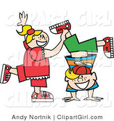 Clip Art of a Happy Freckled Blond Little Girl Helping Her Twin Brother Do a Handstand by Andy Nortnik