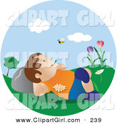 Clip Art of a Happy Little Caucasian Boy Lying in Flowers in the Grass in a Park, Chewing on Grass and Watching a Bee Fly past on a Pretty Spring Day by Vitmary Rodriguez